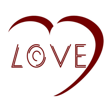 Love heart graphic design for Valentines day love sign on a white background.