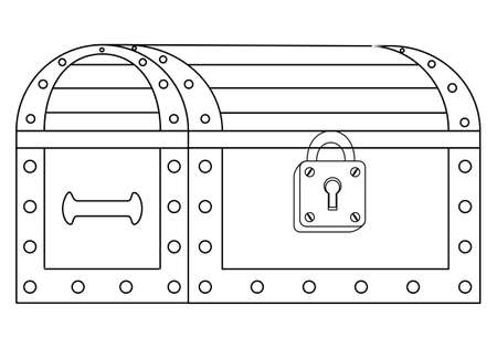 Illustration of a locked chest on white background, contour, outline. 矢量图像