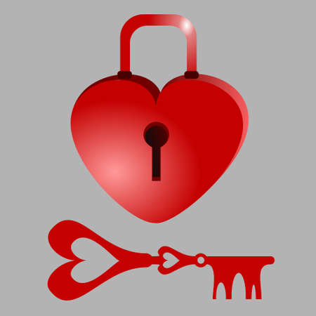 Heart shaped padlock and key. Background of Valentine's Day. Vector illustration