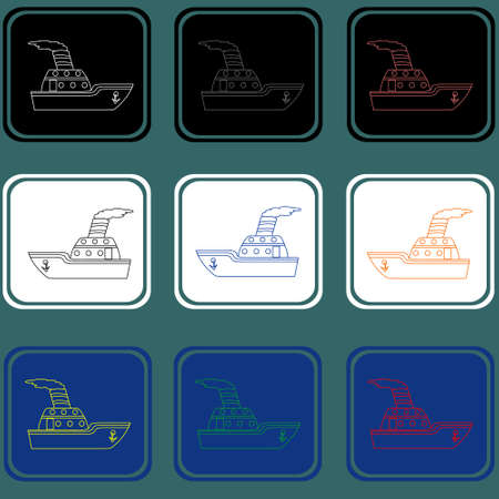 Set of the ships icons. Boat contours.