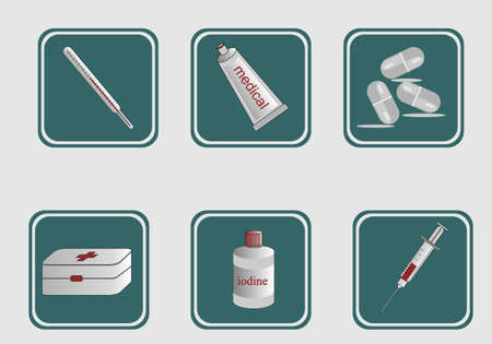 Medical devices icons. First-aid kit, thermometer, ointment tablets syringe 矢量图像