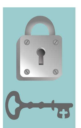 Padlock and antique key. Vector illustration concept 矢量图像