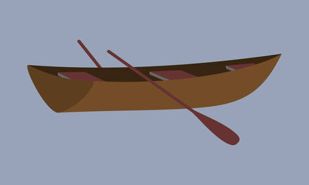 Small boat. Fishing wooden boat with oars.