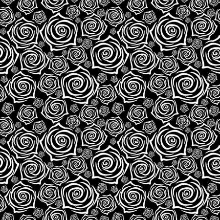 Beautiful seamless pattern with white roses on black background vector illustration. 矢量图像