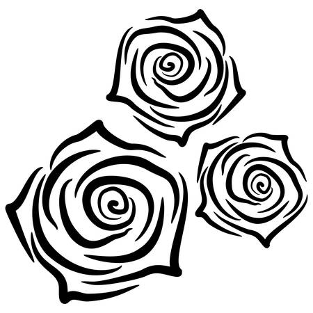 Beautiful silhouettes of roses on white background. Vector illustration.