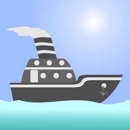Ship. argo ship in the open ocean