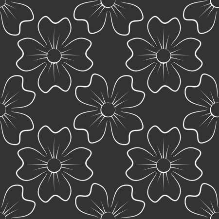 Seamless pattern with flowers. With a white clover on a gray background. Vector illustration.