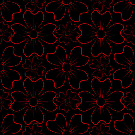 Seamless pattern with flowers. With red clover on a black background. Vector illustration.