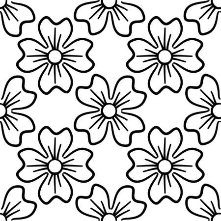 Seamless pattern with flowers. With a black clover on a white background. Vector illustration.