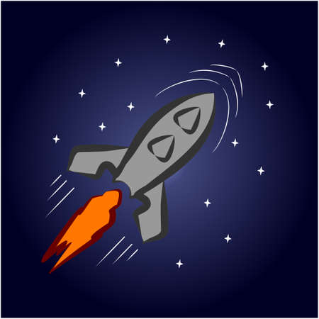A cartoon rocket flies in space among the stars. Vector illustration 免版税图像 - 95405372
