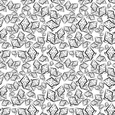 Seamless pattern with black and white butterflies.