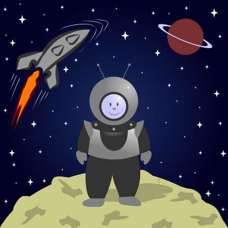 Cartoon astronaut on the moon. Space landscape. 矢量图像