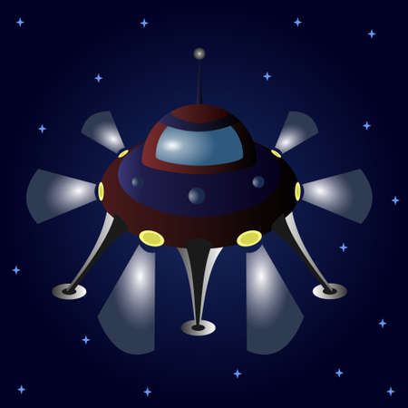 Cartoon flying saucer among the stars. 矢量图像