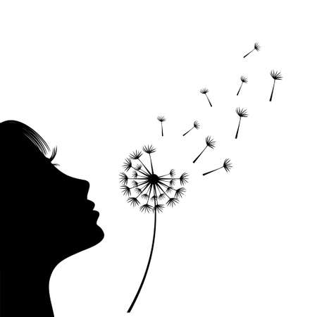 The girl is blowing a dandelion. Silhouette. Isolate on white background.