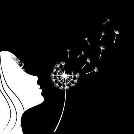 The girl is blowing a dandelion. Silhouette.