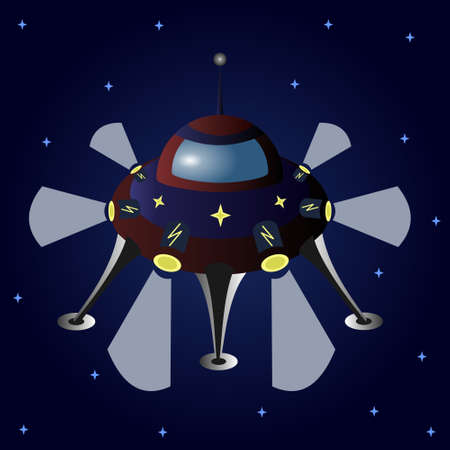Cartoon flying saucer among the stars. UFO. Vector illustration. 矢量图像