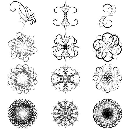 Monogram ornamental patterns, a set of elements for decoration and design. 免版税图像 - 96783658