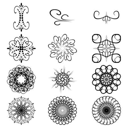 Monogram and patterns, a set of elements for decoration and design. A drawing with a brush. Vector illustration. 矢量图像
