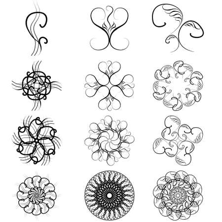 Monogram ornamental patterns, a set of elements for decoration and design.