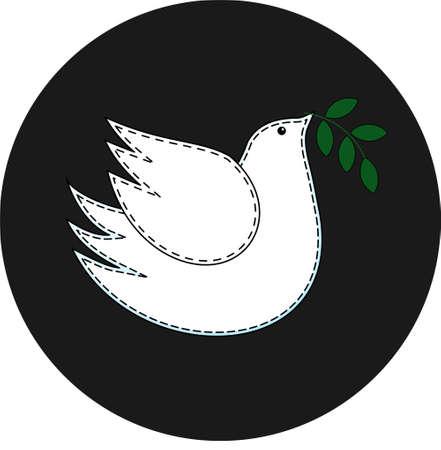 Bird the dove. Pigeon symbol of peace. Logo. 免版税图像 - 102970391