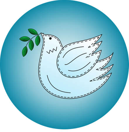 Bird the dove. Pigeon symbol of peace. Logo. 免版税图像 - 102954736