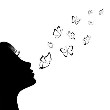 Girl blowing on butterflies. Silhouette. Isolate on white 矢量图像