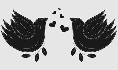 Bird the dove. Pigeon symbol of peace. Love birds. 矢量图像