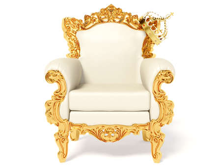 gold crown: gold throne and crown on white
