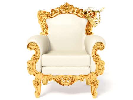 trono real: trono de oro y corona en blanco Foto de archivo