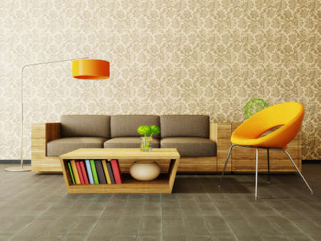 furnished: modern interior room with nice furniture inside Stock Photo
