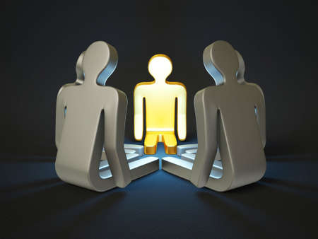 character discussion isolated on a black background photo