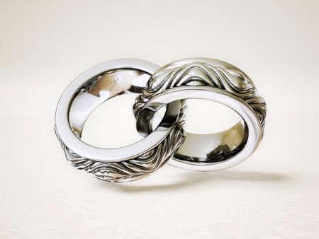 anillo de boda: anillo de la vendimia aislado en un fondo blanco Foto de archivo