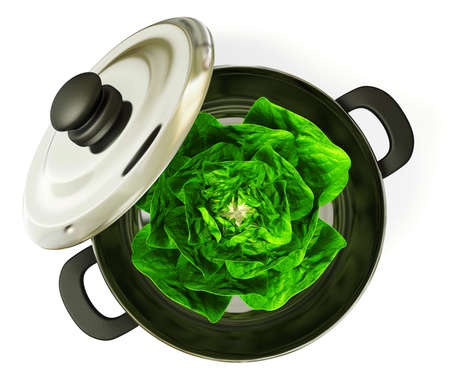 black pan with a cabbage inside. Isolated. Stock Photo - 11712370