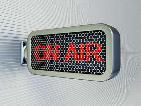 microfono de radio: en el banner de aire sobre un fondo negro aislada de la pared Foto de archivo