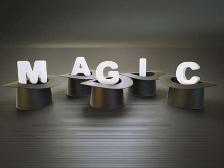 magic show: letters in a black hat isolated on a black Stock Photo