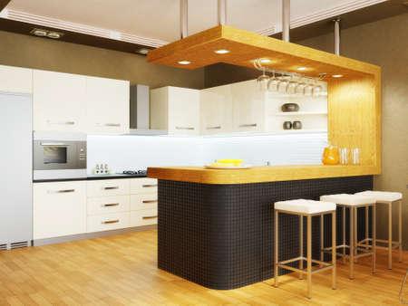 kitchen design: modern interior kitchen with nice furniture inside Stock Photo