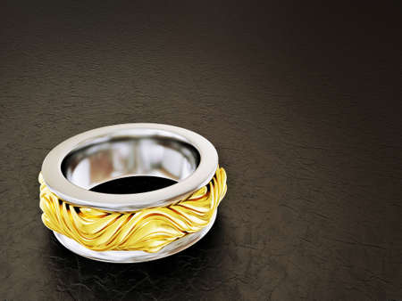 platinum wedding ring: vintage ring isolated on a black  background Stock Photo
