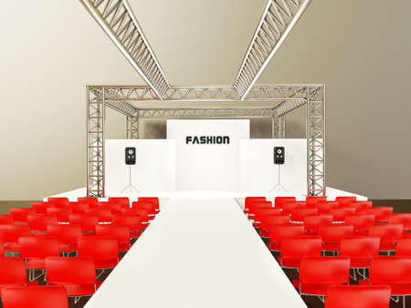 trade show: modern showroom with a red chairs and steel construction.