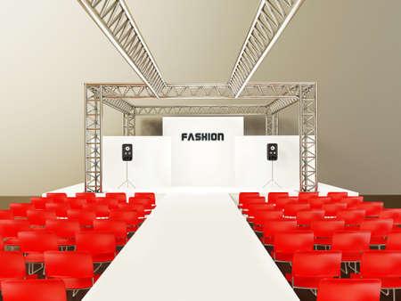 beursvloer: moderne showroom met een rode stoelen en staalbouw. Stockfoto