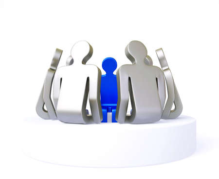 character discussion isolated on a white background photo