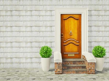front of house: vintage door and two plants near wall. Stock Photo