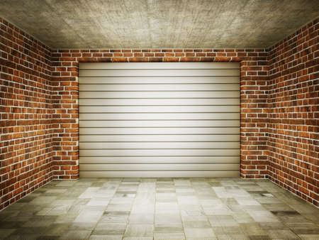 indoor background: vintage garage with a steel gate and bricks walls. Stock Photo