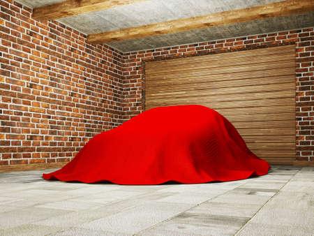 car hidden under a cloth in garage.