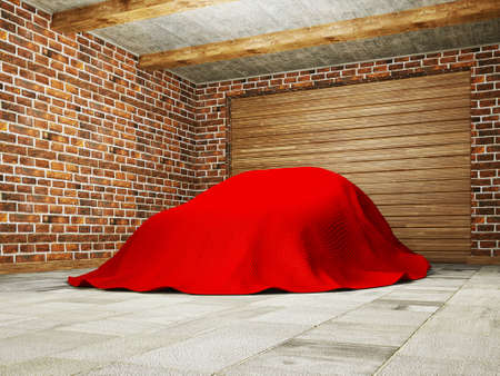 car hidden under a cloth in garage. photo