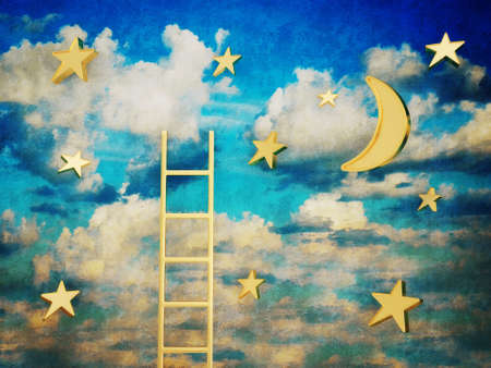 blauwe vintage hemel met een witte wolken en gouden sterren.