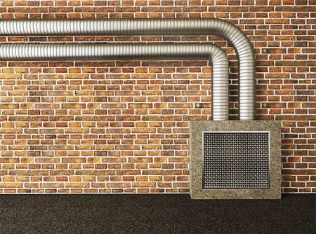 meta: urban street wall with a meta pipe.