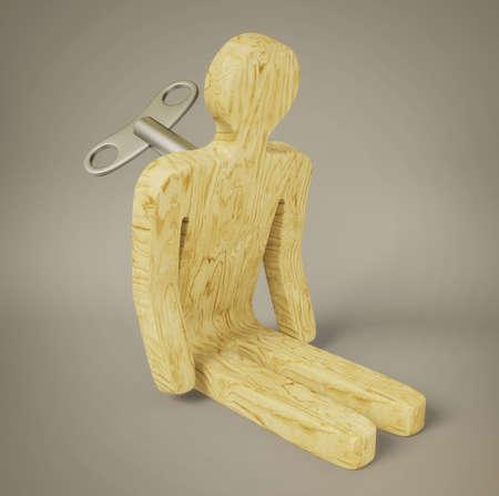 marioneta de madera: hombre de madera con kay aislado en un blanco Foto de archivo