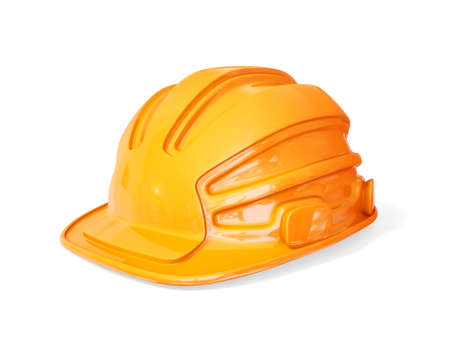 orange helmet for builder isolated on a white photo