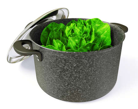 ladle: black pan with a cabbage inside. Isolated.