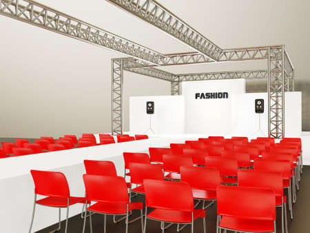 visitors area: modern showroom with a red chairs and steel construction.
